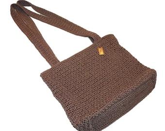 Vintage Mocha Purse /  Taupe Beige Caramel Crocheted Handbag