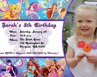 Custom, Personalized Winx Club Birthday Invitation- With or without child's picture