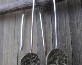 Silver Drop Earrings - Oxidized Silver Earrings
