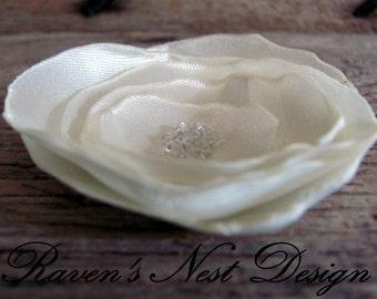 Fabric Flower Pin - Ivory Flower Pin -Bride Hair Piece - Bridesmaids / Flower Girl Hair Piece - Baptism