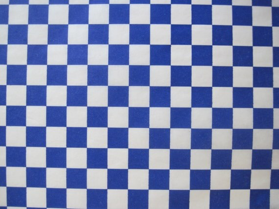 Checkered Wax Paper Wax Paper-100 Sheets of Blue
