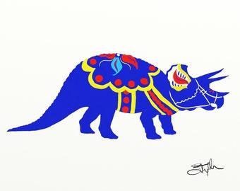 Dala dinosaur - triceratops 5 x 7