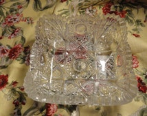 Brilliant Square NUCUT GLASS BOWL Glass Circa 1911 Imperial #5316a