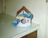 Blue Bird House Tissue Box Cover boutique tissue