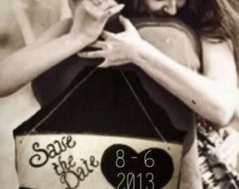 Chalkboard Save The Date Engagement Photo Prop Rustic