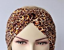 Adult headband woman,Yoga headband ,Twisted headband,Turban Headband ,workout  headbeand, leopard animal design,