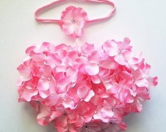 2 piece set: light pink hydrangea flower bloomer with matching baby headband