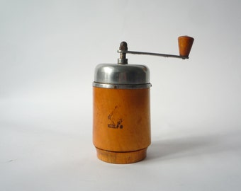 Sale 20%VINTAGE COFFEE  GRINDER - Cylindric Wooden coffee grinder - coffe mill- Houseware -Home decor-Kitchen accessories