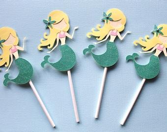 Mermaid Cupcake Toppers - Set of 12 - Under the Sea Birthday - Mermaid Party - Mermaid Decorations