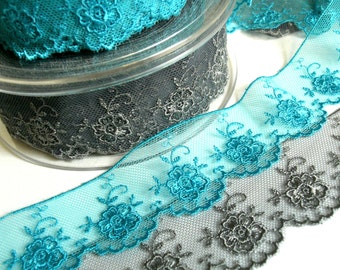 """1 m embroidered lace """"Paris"""" S 3,5 cm w"""