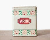 Flour metal box 1950's - French vintage flowers illustration decorative tin - Retro kitchen metal canister