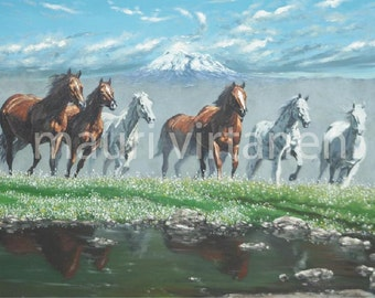 """Horses in the wilderness, oil painting PRINT of original, housewarming, 14"""" x 19"""""""