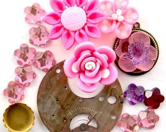 Steampunk Watch Part, Pink Fimo Flower, Glass, Brass, Enchanted Flower Garden Bead Set 16954