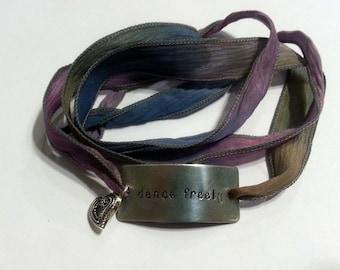 "Dance Jewelry / Custom Silk Wrap Bracelet ""Dance Freely"" /  Hand Stamped Bracelet / Custom Silk Wrap / Dancer Gift / Gift for Dancer"