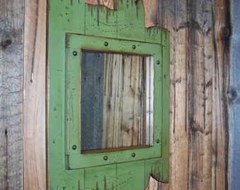 Dark green wood mirror, Decorative wall mirror, Bathroom vanity mirror, Rustic mirror, Barn wood Mirror