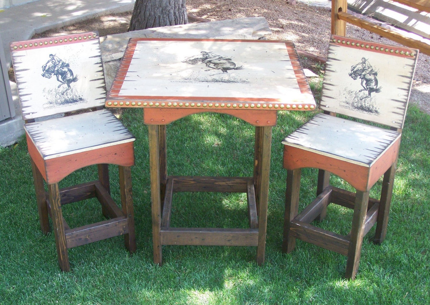 Rustic western pub table with bar stools kitchen table and for Table western