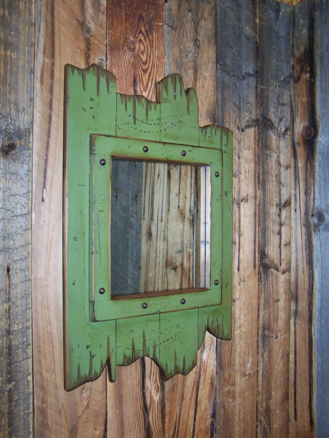 Dark green wood mirror decorative wall mirror bathroom for Rustic mirror