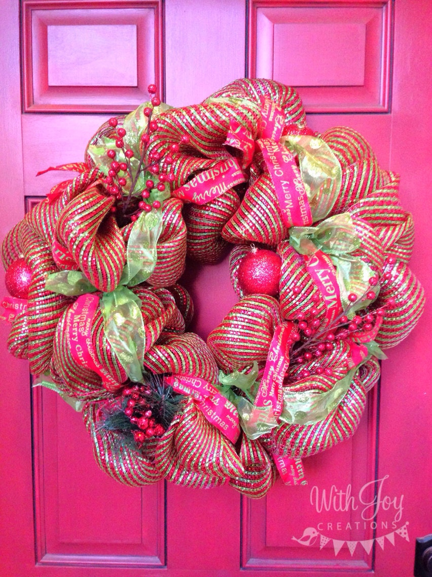 Red and Green Christmas Sparkly DecoMesh Wreath.