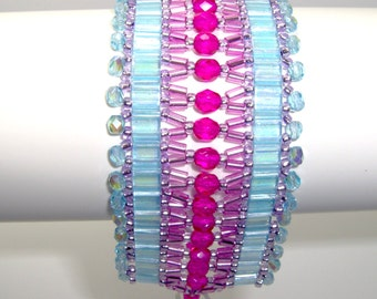 Turquoise and hot pink cuff, turquoise cuff, hot pink cuff, turquoise bracelet, turquoise & pink bracelet, tila bead bracelet, tila cuff,