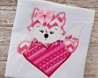 Fox Girl Heart Applique