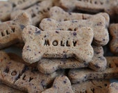 "Bodacious Blueberry, All Natural Dog Treat: Low Fat, Personalized, Gluten-Free, Homemade, Gourmet ""Mini"" Bone"