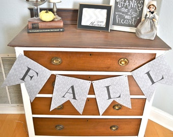 Fall Paper Pennant Banner-Grey Damask