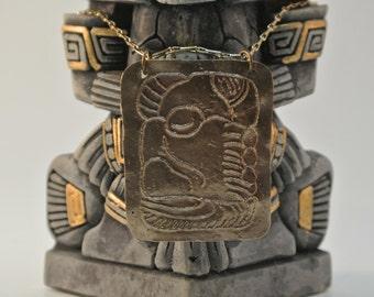 Handcrafted Mayan Glyph Bronze Pendant
