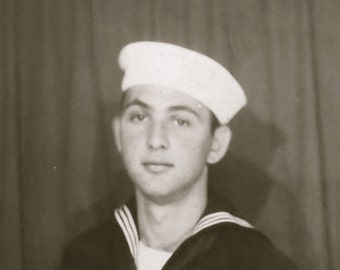 Original 1940's Handsome US Sailor Boy World War II Era Photo Booth Photo - Free Shipping