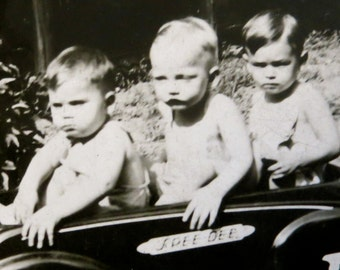 Cute 1936 Three Brothers In A Peddle Car Snapshot Photo - Free Shipping