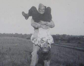 Original 1940's WW II Era Soldier Boy Clowns With His Gal Snapshot Photo - Free Shipping