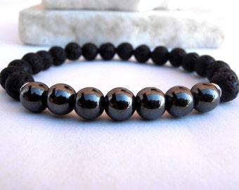 Mens Mala bracelet, Lava bracelet, Lava bracelet, Healing Mala bracelet, Meditation bracelet, Men Bracelet, Yoga bracelet