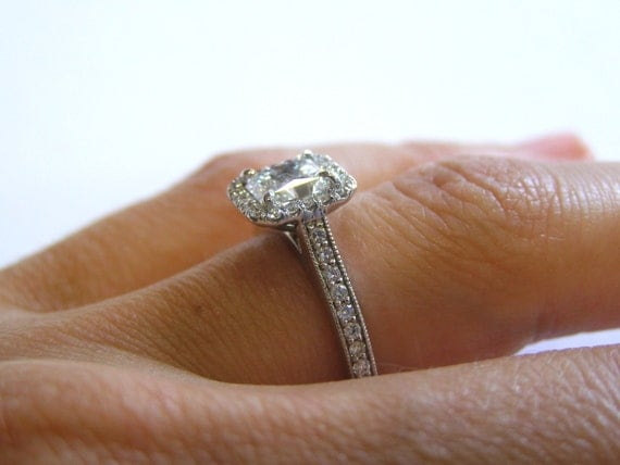 18K White Gold Radiant Cut Diamond Engagement Ring with Halo
