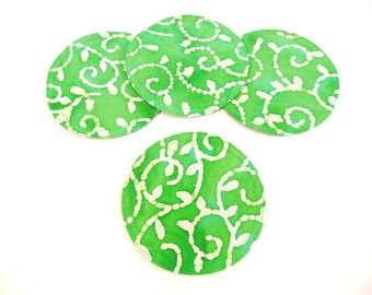 Bright Green Batik Fabric Coasters Quilted Round