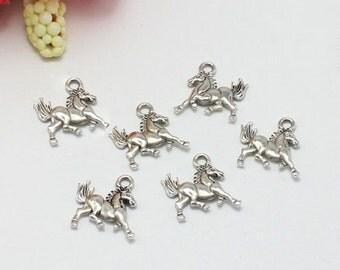 20 pcs of antique silver running horse Charm Pendants 15mm