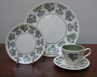 Vintage Rooster Dinnerware Set, 3pc, Taylorstone.