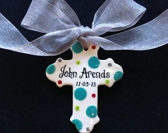 Hand painted Personalized Cross Ornament- Baptism, Christening, Easter or Baby Shower Gift