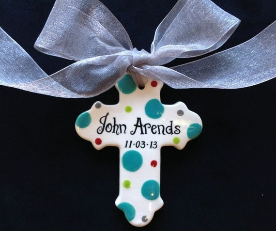Personalized Baptism Cross Glass Ornament By Specialornaments: Items Similar To Hand Painted Personalized Cross Ornament