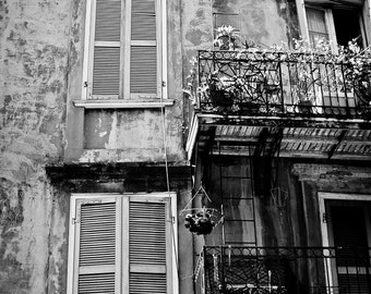 New Orleans French Quarter Black and White Photograph, Architecture