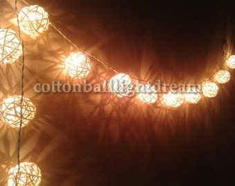 20 White Rattan Ball String Lights , Party Lighting,home decorative, night light party
