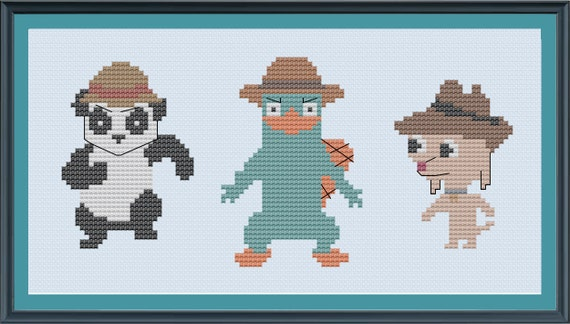 Phineas and Ferb Agents - Cartoon Cross-Stitch PATTERN