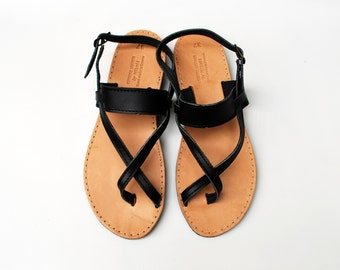 Gladiator Sandals in Black made with 100% Genuine Greek leather