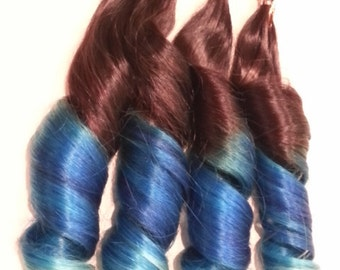 "18"" 100grs,100s,Nail (U) Tip Pastel Human Hair Extensions # Auburn-Blue"