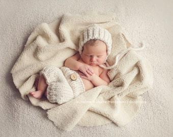 Newborn Baby Boy or Girl Knit Bonnet Photography Prop