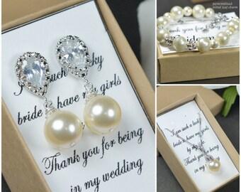 Cream/ivory pearl earrings .Wedding Jewelry Bridesmaid Gift Bridesmaid Jewelry Bridal Jewelry Pearl Drop Earrings Cubic Zirconia Earrings