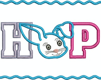 Hop Bunny with and without border Machine Embroidery DesignApplique