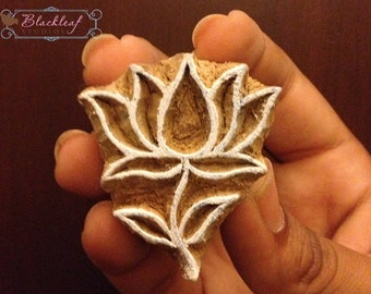 Wood block print stamps etsy wood block printing hand carved indian wood textile block stamp lotus flower motif mightylinksfo