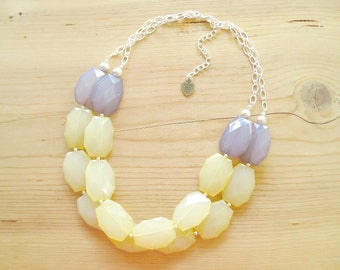 Yellow and Grey necklace, yellow gray statement  necklace