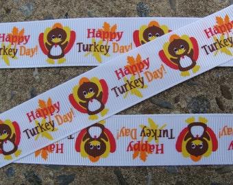 "3y Turkey Ribbon Thanksgiving Ribbon Happy Turkey Printed Ribbon 7/8"" Hair Bow Ribbon"