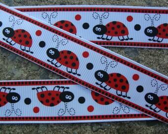 """3 yards Lady Bug Ribbon Red and Black Dots Polka Dots Printed Ribbon 7/8"""" Hair Bow Ribbon Scrapbooking Ribbon"""