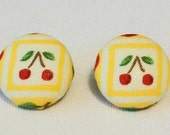 SALE Vintage Chich Bright Yellow and Red Cherry Fabric Button Pierced Earrings
